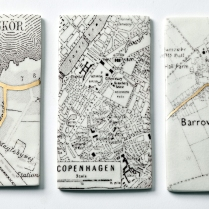 Porcelain map panels made to commission