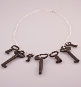 multiple black key necklace