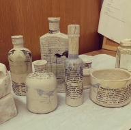 printed clay bottles