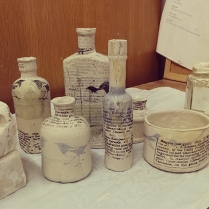 printed clay bottles