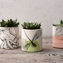 Small printed porcelain planters