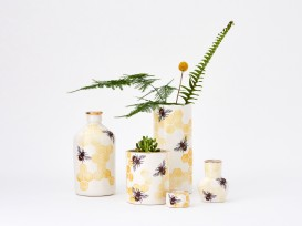 Porcelain bee planter bottles, vase and ring pot