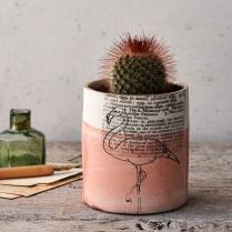 Screen printed porcelain flamingo planter