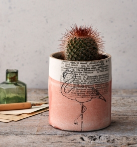 Screen printed porcelain flamingo planter