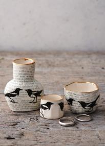 Porcelain magpie bottle and ring pots