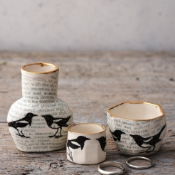 Porcelain magpie bottle and ring pots