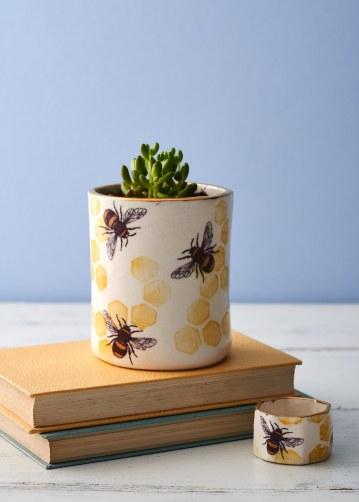 Printed bee planter and medium ring pot