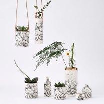 Porcelain octopus print vessels