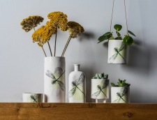 Screen printed porcelain dragonfly vessels