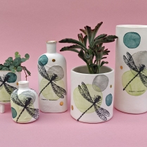 Porcelain dragonfly vessels