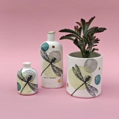 Porcelain dragonfly planter and bottles