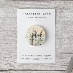 Porcelain screen printed birds brooch