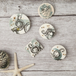 Group of porcelain screen printed brooches