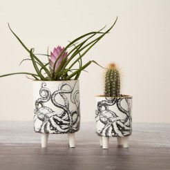 Porcelain four legged octopus planters