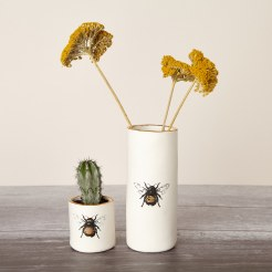 Golden bee porcelain planter and vase