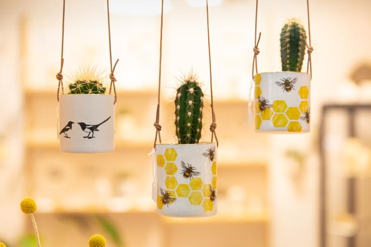 Screen printed porcelain hanging planters